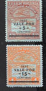 Venezuela 1937 pair of stamps Mi#204,206 MH CV=21.5€