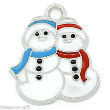 "10 PCs Charm Pendants Enamel Christmas Snowman Silver Tone 24mmx21mm(1""x7/8"")"