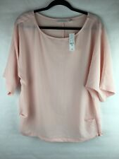 New With Tags New York & Co Women's Size Large Blouse Pink Short Sleeve