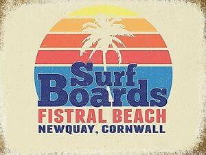 Surf Boards Fistral Beach large steel sign 400mm x 300mm (og)