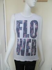 "NEW LOOK - WHITE FLORAL ""FLOWER"" VEST TOP Size 10 USED"