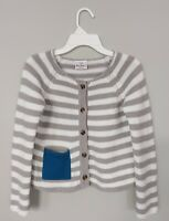 Hanna Andersson Girls Cardigan 120 US 6-7 Cotton Gray White Blue Pocket Striped