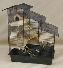 Hamsterkäfig, Nagerkäfig, Mäusekäfig XXL AUSSTATTUNG KASKADE schwarz/beige 62cm