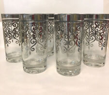 6 Silver Scroll Highball Coolers Tumblers Drinking Glasses MCM Barware