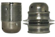 1/5 Stück Metall-Fassung E27 Gewindemantel M10x1 brüniert Rundkappe o./mit Ring