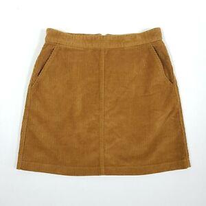 WAREHOUSE Corduroy Short Skirt 10 Camel Beige Wide Wale Pockets Exposed Zip NEW