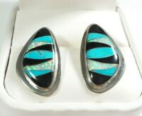 """925 STERLING SILVER TURQUOISE ONYX SYNTHETIC OPAL 1"""" POST EARRINGS"""
