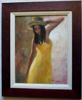 VINCENT SILVANO OIL PAINTING ON CANVAS SUMMER DRESS SIGNED W/COA FRAMED