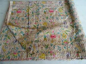 Indian Vintage Kantha Handmade Bedspread Quilt Throw Cotton Floral Printed Gudri