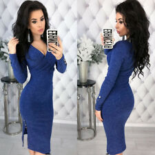 Fashion Women Winter Knitted Sweater Bodycon Deep V Neck Long Sleeve Party Dress