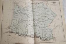 CARTE ANCIENNE COULEURS FRANCE BASSIN GARONNE 1865 ATLAS BOUILLET R652