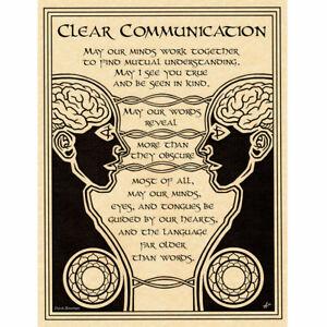 "Clear Communication Poster 8.5 x 11"" Parchment Print NEW Communication Prayer"