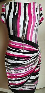 Gorgeous Joseph Ribkoff Pencil Dress Size 14 Pink Black Faux Wrap Buckle Midi