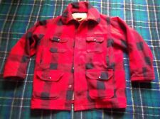 Vintage Woolrich Buffalo Red Black Plaid Wool Hunting Jacket Barn Coat Large USA