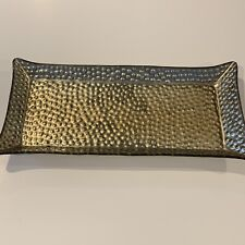 Yankee Candle Dimple Gold Scaping Jar & Pillar Candle Tray Exotic Rectangular