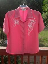 Natural Collection Dress Blouse Shirt 2X Pink w Embroidered Flowers