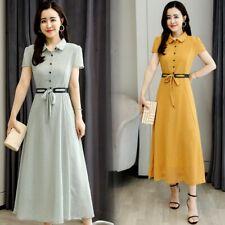 Summer Women A-Line Long Dress High Waist Belt Short Sleeve Fashion Slim Dresses