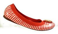 New Tory Burch Women Shoes Striped Orange Leather Ballerina Ballet Flats Sz 8.5