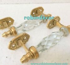 2 Pieces Beautiful Transparent Glass Crystal Cut Door Handle Brass Antique Style