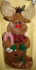 """Plush Reindeer Christmas Stocking By GANZ NIP 21""""  Stocking Or Wall Hanging"""