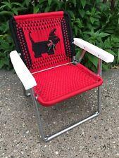 VTG Scotty Dog Child's Aluminum MACRAME Webbing Folding Lawn Chair Red Black