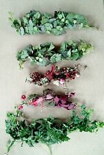 Lot of 5 Artficial Floral Decor Swags Ivy Green Flower Grape