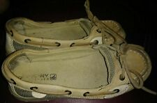 Sperry angelfish 1 eye boat shoes tan taupe beige tones brown girls size 2M