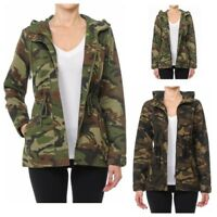 Women's Utility Anorak Military Camo Drawstring  Hooded Jacket (S-L)