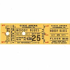THE MOODY BLUES Full Concert Ticket Stub PITTSBURGH 10/25/73 CIVIC ARENA Rare