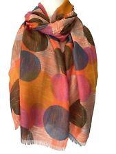 Orange Scarf Ladies Pink Blue Circles Abstract Print Burnt Orange Shawl Sarong