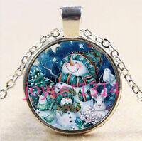 Vintage Christmas Cabochon Tibetan silver Glass Chain Pendant Necklace #3092