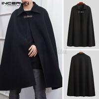 Herren Poncho Fleece Warm Cape Mantel Jacke Umhang Outwear Mantel Pullover Tops
