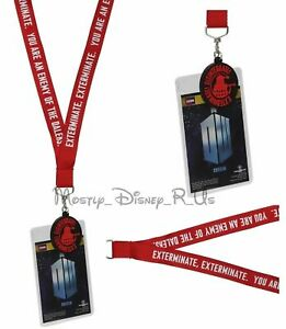 BBC Dr Doctor Who DALEK Enemy Exterminate All Over Lanyard Charm ID Holder Red