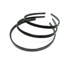 3 black slim headbands plastic alice hair bands