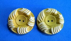 Pair Lot two Buffed Celluloid Buttons Mustard Color w White Sew through