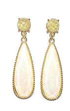 1930s Vintage Style Art Deco Gold Cream Faux Opal Earrings Stud Drop Green 1413