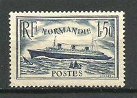 FRANCE N° 299 PAQUEBOT NORMANDIE Bleu Neuf**. Cote 35€