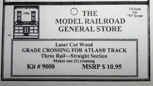 Atlas O 3-rail Railroad Grade Crossing 6050 Straight track, laser engraved wood.