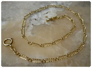 French Antique Fob Pocket Watch Chain 18K Solid Gold