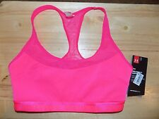 UNDER ARMOUR Small 30-32 Mid-Support Bright Pink Compression Sports Bra NEW NWT