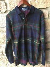 POLO RALPH LAUREN PLAID MENS MEDIUM  TWO BUTTON PULLOVER RUGBY