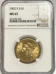 1902-S  $10 Liberty Head Eagle NGC MS63 Gold 1902 S