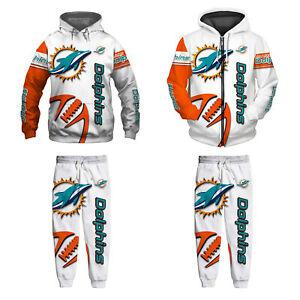 Miami Dolphins 2Pcs Jogging Suit Casual Tracksuit Sportswear Sweat Suit Set