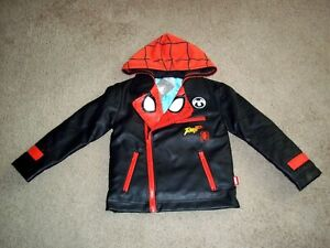 NEW Disney Store Spider Man Super Hero Faux Rescue Leather Jacket Hooded Boy 4