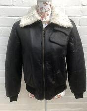 New Sweewe Paris Faux Leather Bomber Jacket Coat Black Large Fur Collar
