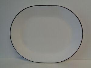 Corelle White Black Rim Serving Platter City Block Simple Lines Classic Cafe New