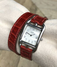 $3550 Hermes Cape Cod PM Stainless Steel / Alligator Double Tour Wrap Watch