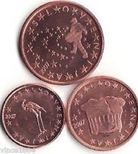 Monnaie 1,2,5 centimes cent cts euro Slovénie 2007, neuves du rouleau, UNC