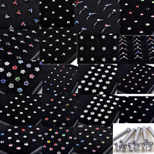 15 Styles Stainless Steel Rhinestone Nose Studs Rings Bone Body Piercing Jewelry