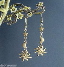 Vintage Bronze Sun Moon and Star Dangly Celestial Earrings